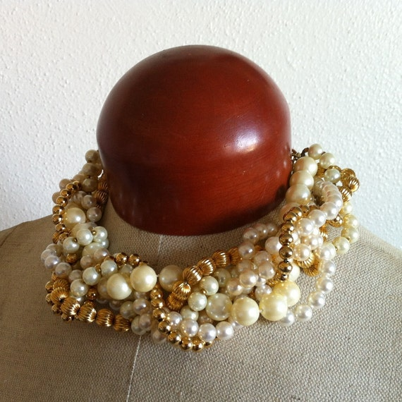 Statement Chunky Pearl Choker- Gold Dust