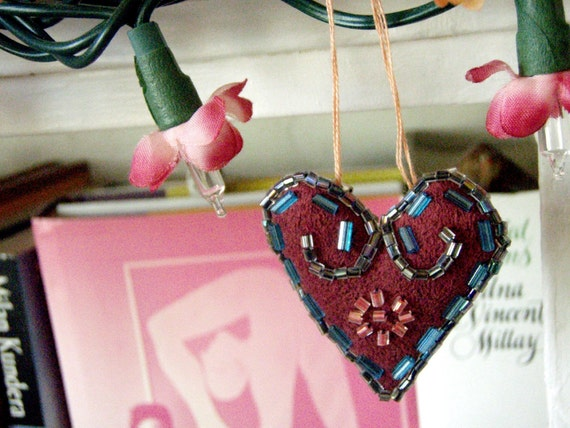 Reserved for Susan Turner Small Beaded Decorative Heart Holiday Ornament