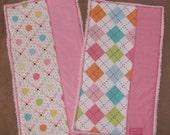 Beautiful Pink Burp Cloths - Set of 2 - Ready To Ship