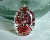 Quees Anne's Lace real flower red resin pendant necklace