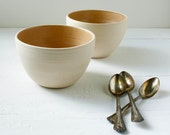 Set of Two Toffee and Buff Stoneware Bowls