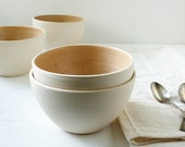 Sale Two Toffee and Buff Stoneware Bowls