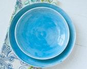 Cerulean Blue Porcelain Platters