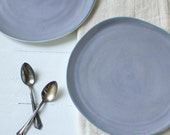 Reserved Listing Two Matte Porcelain Plates in Gray Lilac