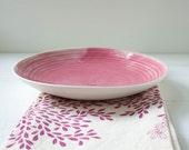 Pink Porcelain Shallow Serving Bowl
