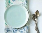 Two Pale Aqua Porcelain Dessert Plates