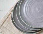 Lilac Gray Stoneware Plates Set of Two
