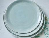 Reserved Listing Three Pale Aqua Organic Plates