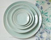 Stacked Plates Pale Aqua Porcelain