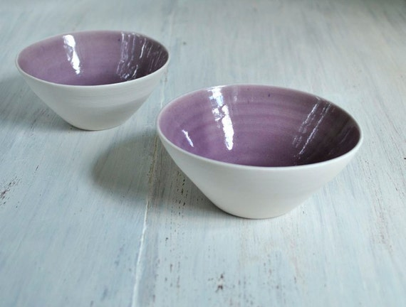 Modern Pottery Bowls Porcelain Bowl Set of Two Purple and White Ceramic Bowls