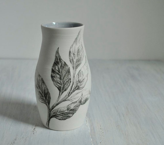 Sketchbook Leaf Vase in Gray Lavender and White Porcelain Pottery
