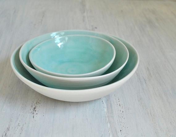 Turquoise Porcelain Nesting Bowl Set