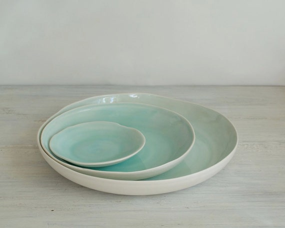 Aqua Porcelain Serving Platter Set