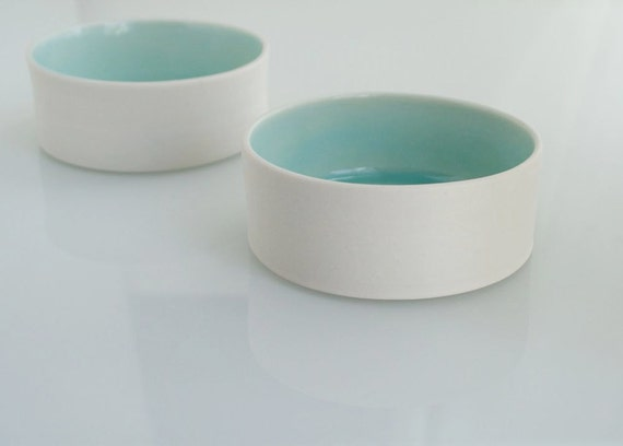 Salt And Pepper Cellars Aqua And White Porcelain Bowls