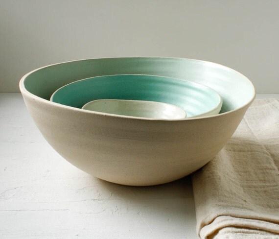 Gradient Nesting Bowl Set Aqua and Buff Stoneware