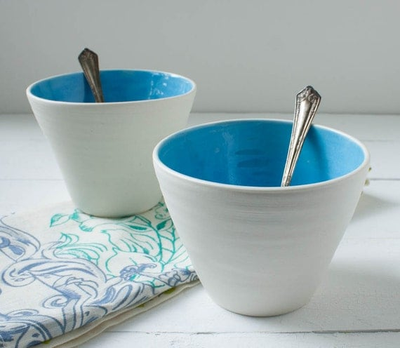 Sorbet Cups in Cerulean Blue and White Porcelain