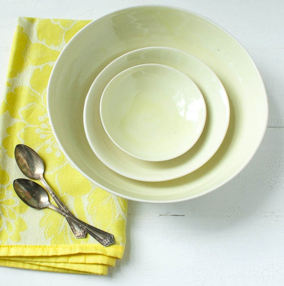 Reserved Listing Three Lemon Yellow Porcelain Nesting Bowl Set