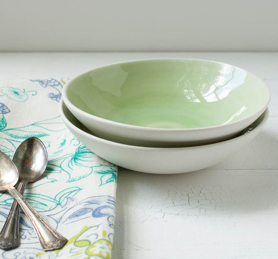 Two Spring Green Porcelain Bowls