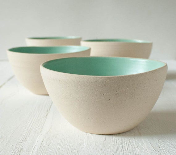 Reserved Listing Four Stoneware Bowls with Matte Aqua