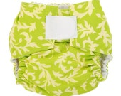 SWIRLY BUDS IN LIME One Size Designer Cloth Diaper