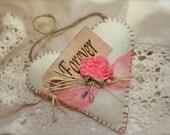 Valentine Felt Heart Decoration Cream Rose Forever