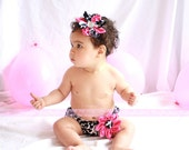 2 PIECE SET - Diaper Cover Headband in Black and White Floral Scrolls for Cake Smash - an ORIGINAL design by StacyBayless