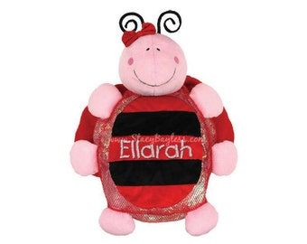 CLEARANCE Ladybug Plush Back Pack or Diaper Bag - Includes FREE Personalization - Same Day Shipping