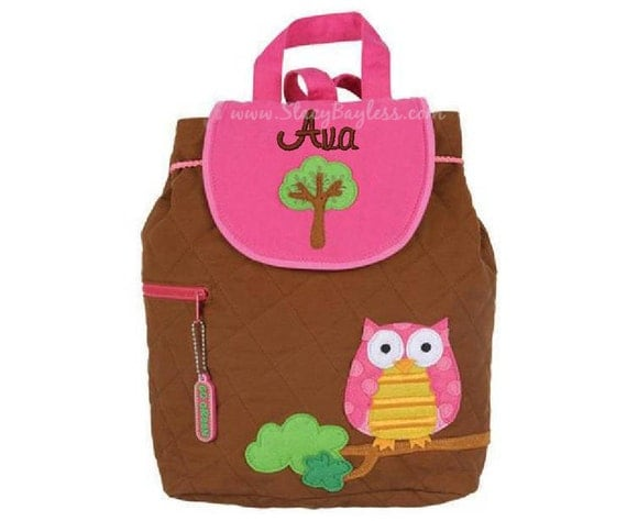 SHIPS SAME DAY-- Owl Quilted Back Pack or Diaper Bag in Brown - Includes Free Personalization
