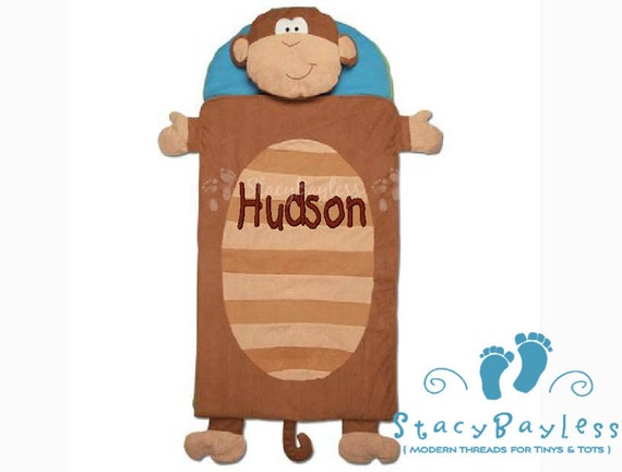 Monkey Nap Mat INCLUDES Personalization - Same Day Shipping