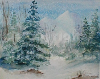 Wintertime, Print of Original Painting of Snowy Winter Scene 8x10  Soft Cool Colors, Blue, Green