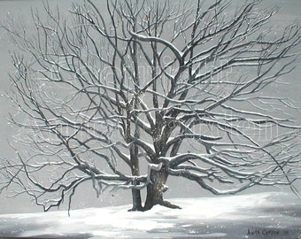 Grand Old Oak in Winter, Print of Original Painting, 8x10, Snowy Winter Scene, 200 yr old Oak Tree, Black and White