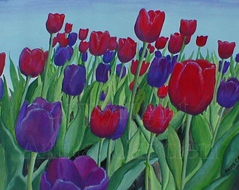 Tulips Original Painting  9x12 Floral, Beautiful Colors - Purple, Violet, Blue, Red, Green