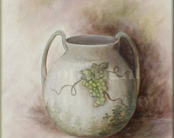 Pottery Print of Original Painting 8x10 Still Life, Soft Muted Neutral Colors, Taupe, Green Grapes, Brown