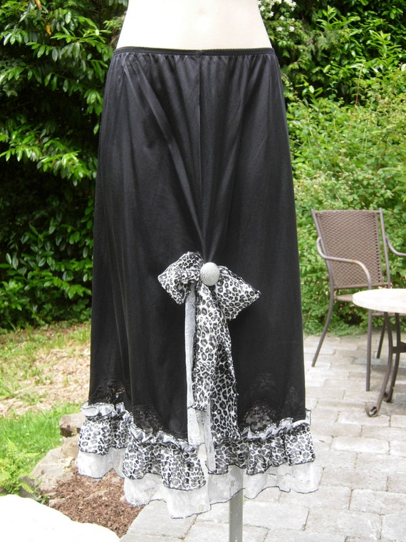 SALE  black slip skirt adorned with silver lace and leopard ruffles