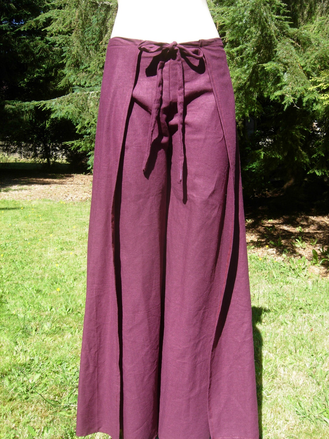 Eggplant Colored Adjustable Wrap Around Pants