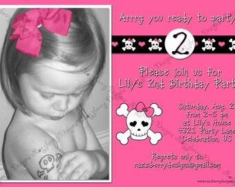 Pirate Birthday Invitation Pink Pirate Invite Girl Birthday Invitation Pirate Princess Invite Custom Invite Skull and Crossbones Invitation