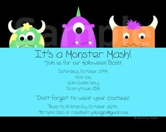 Monster Birthday Invitation, Birthday Party Invite, Monster Invitation, Monster Mash, Boy Birthday, Printable Invitation, Monster Invite