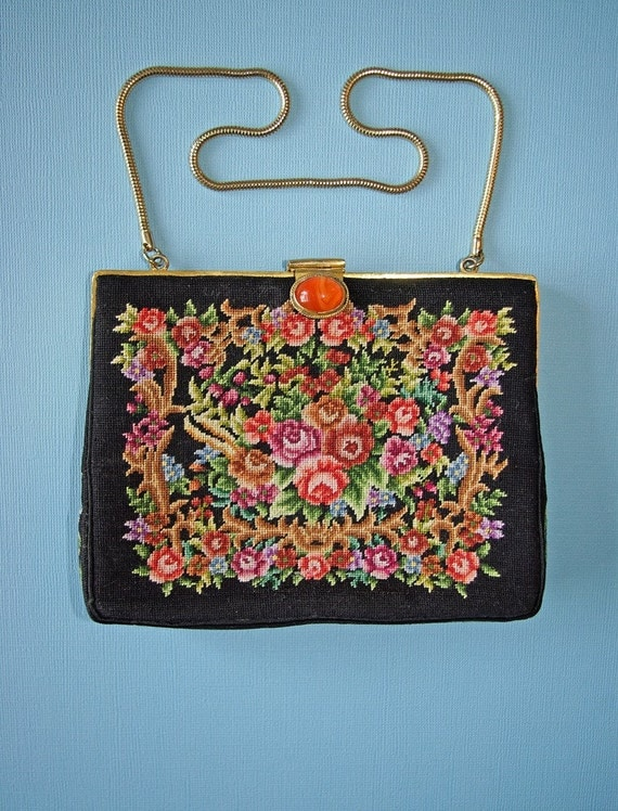 Bright floral petit point purse with jewel clasp c1930