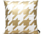 "SALE 15% OFF-Houndstooth Pillow Cover-Gold printed in white cotton-16""(40CM)"