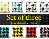 """set of 3 -color mixing combinations Houndstooth pillow 16""""(40CM)"""