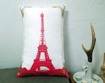 eiffel tower photo frame pillow cover dark pink and gold 12x18 - Eiffel Tower Picture Frame