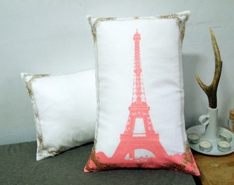 """Set of two-Eiffel Tower Photo Frame Pillow Cover-pink and gold-12X18"""""""