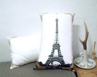 """Set of two-Eiffel Tower Photo Frame Pillow Cover-black and gold-12X18"""""""
