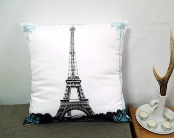 """Final Sale-Eiffel Tower With Lace Pillow Cover-black and green-16""""(40cm)"""