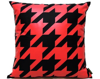 "SALE 20% OFF-Houndstooth Pillow Cover-Red printed in black cotton-16""(40CM)"