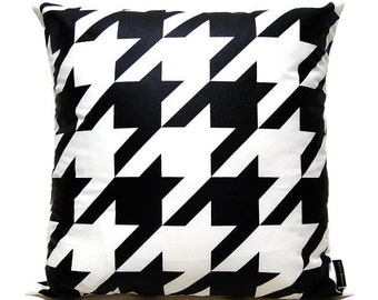 "SALE 20% OFF-Houndstooth Pillow Cover-Black printed in white cotton-16""(40CM)"