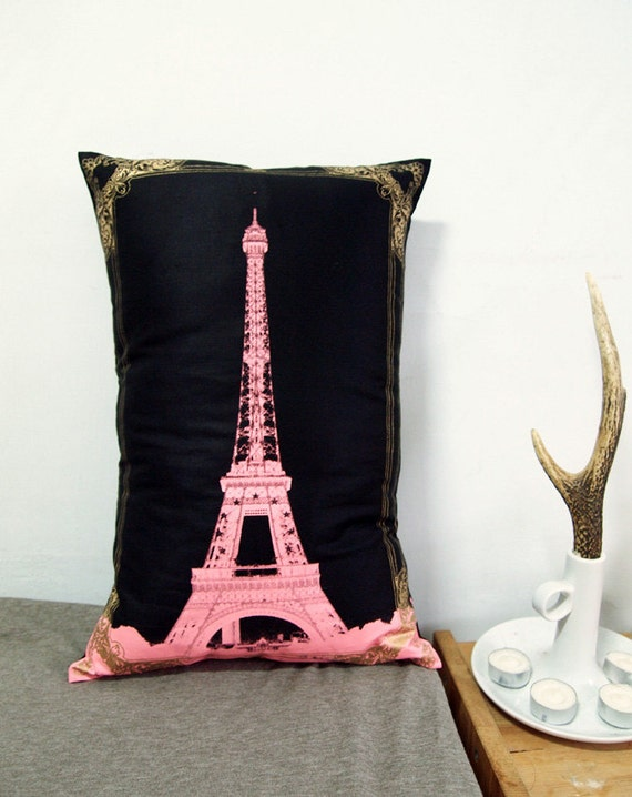 Eiffel Tower Photo Frame Pillow Cover-pink and gold-12X18""