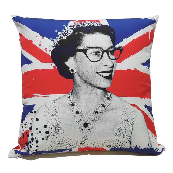 "Queen Elizabeth II wearing cat eye glasses in Union Flag- 16"" (40cm)"