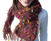 Women Knit Scarf Brown with Yellow Orange Green Pink Warm Accessories, Scarves, Knitting by Nevita on Etsy