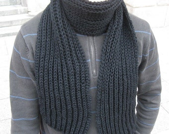 Black Hand Knit Wool Scarf for MEN best gift for Him